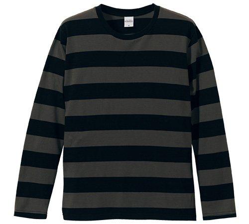 (ユナイテッドアスレ)UnitedAthle 5.0オンス ボールドボーダー ロングスリーブ Tシャツ 551901 2005 ブラック/チャコール S