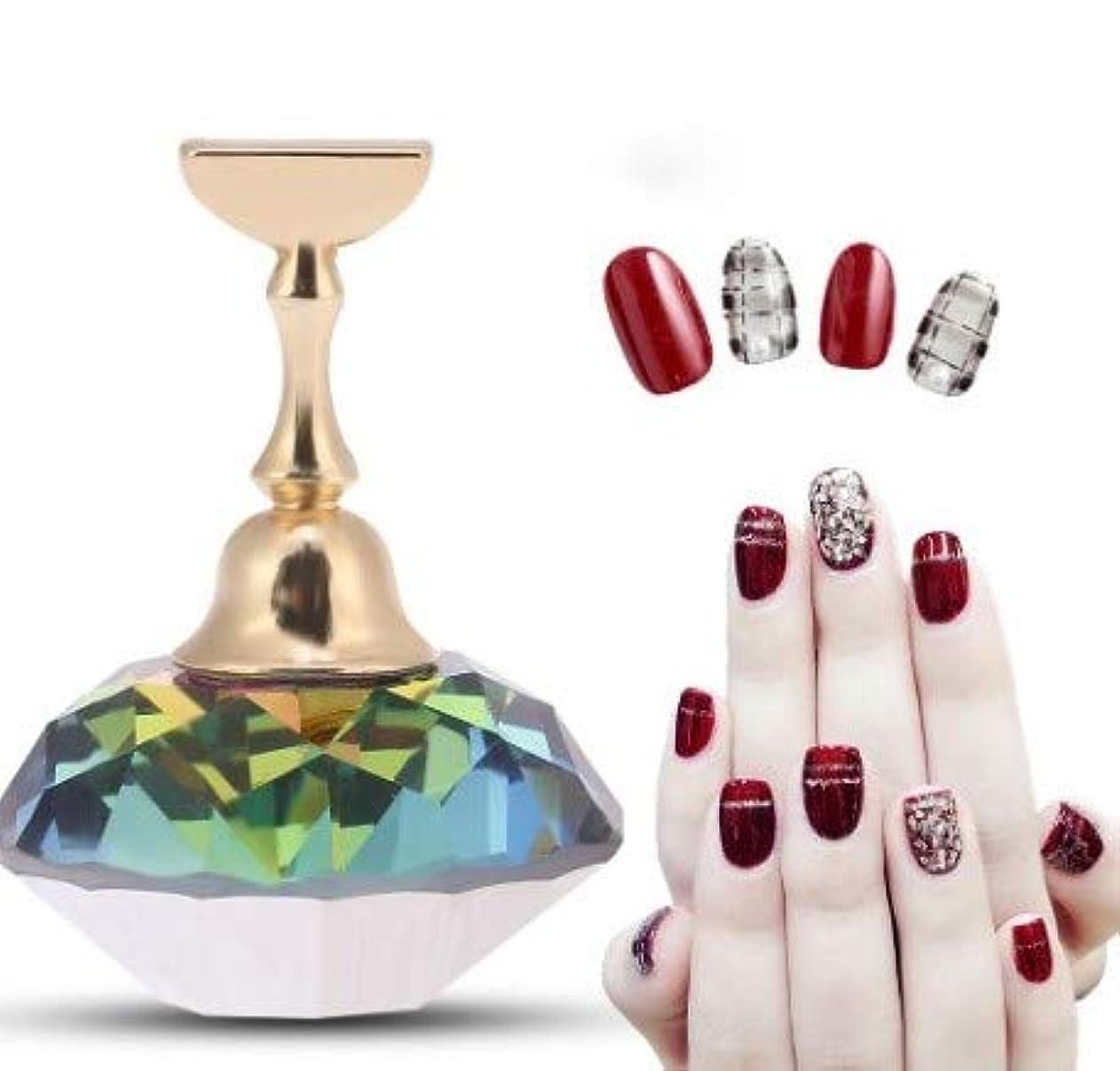 仲介者翻訳損傷磁気ネイルチップ練習ネイルアートディスプレイスタンド(#3 Colorful Diamond Crystal)