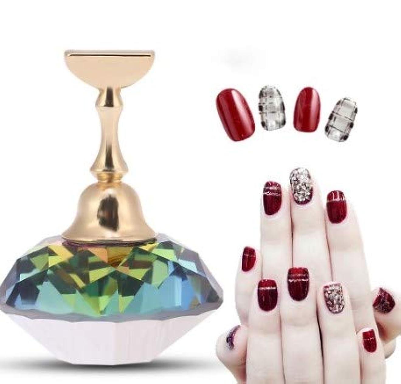 取得不定構想する磁気ネイルチップ練習ネイルアートディスプレイスタンド(#3 Colorful Diamond Crystal)