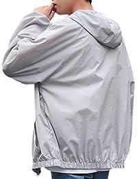 maweisong メンズフードカジュアル通気日焼け超薄ジャケットコートトップ