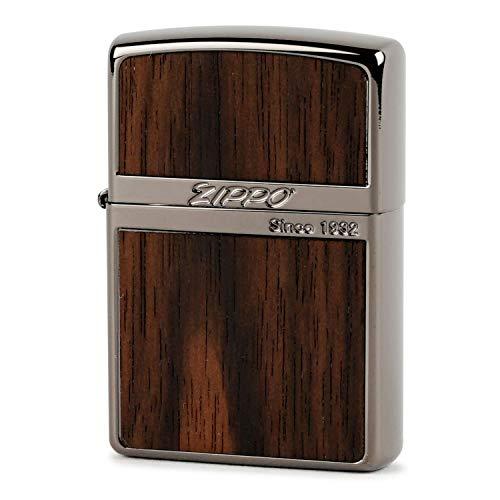 ZIPPO(ジッポー) ライター ブラック ウッド プレート貼り 両面エッチング ダークブラウン