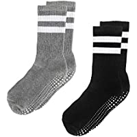 LA Active Grip Socks - Non Slip Casual Crew Socks - Ideal for Home, Indoor Yoga, and Hospital - for Men and Women