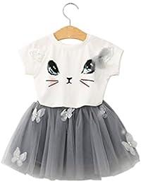 d48c779ba615d Yumiki 子供服 女の子 キッズ 二点セット 半袖 tシャツ スカート 猫ちゃん ...