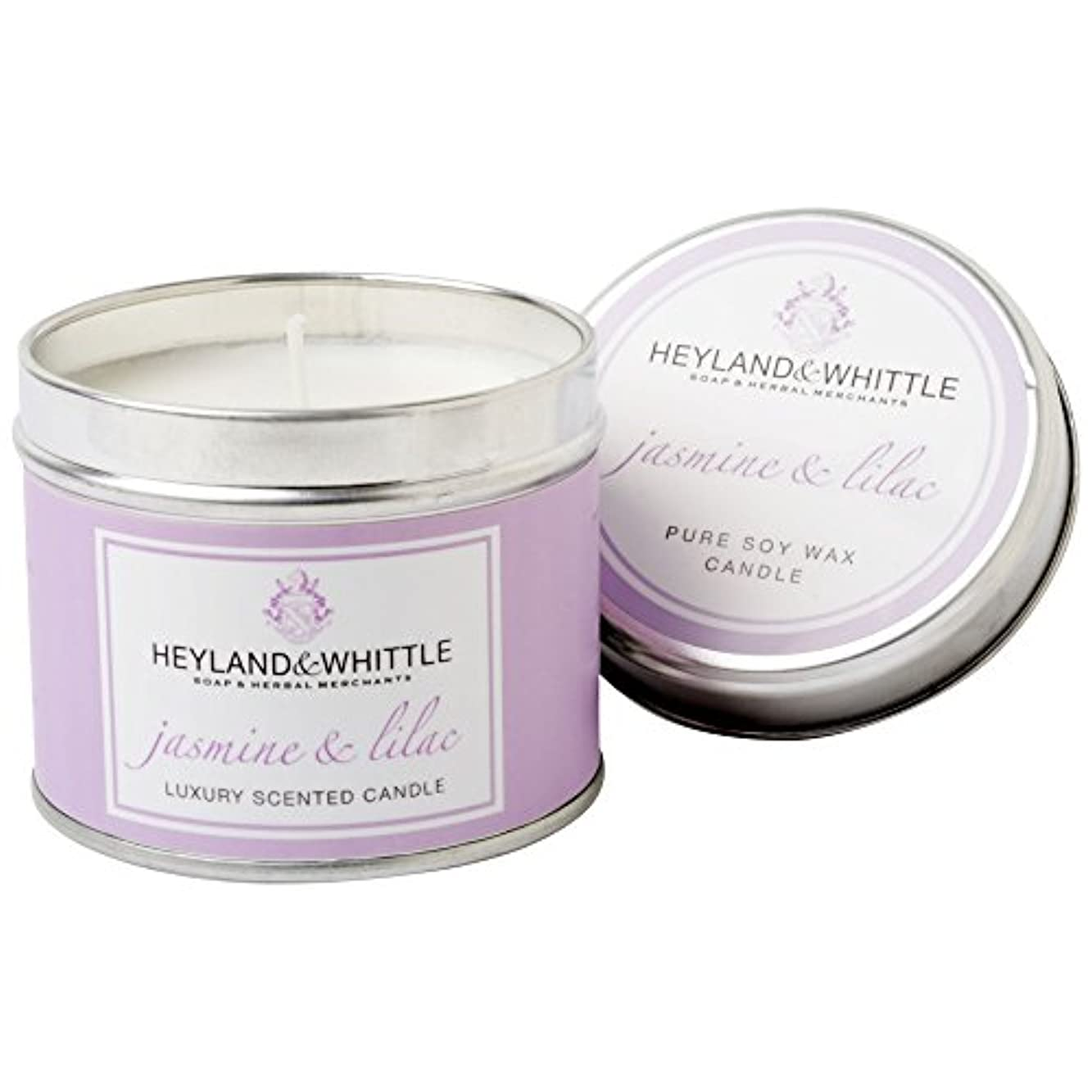 学ぶトレイラメHeyland & Whittle Jasmine & Lilac Candle Tin (Pack of 6) - Heyland&削るジャスミン&ライラックキャンドルスズ (Heyland & Whittle) (x6...