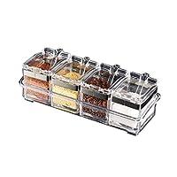 GY 調味料ボックス、4調味料ボックスコンビネーション、調味料ボトル、オイラー、ペッパーボトル、密閉型、防湿、防水、アンチ傾け、プラスチック、ガラス、ステンレススチール、家庭用調味料ボックス、キッチン調味料ボックス、プラスチックスパイスボックス、スパイスラック、真鍮、グレー。 (Color : Clear(Four grid+steel ring))