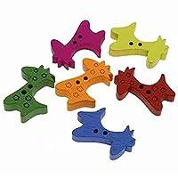 TOOGOO 50個刺繍彫刻木製ボタン縫製アートDIYキリンの形