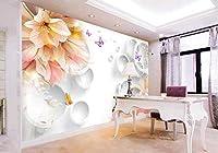 Minyose ヨーロッパスタイルの大規模なカスタム3D壁画夢の花蝶3DステレオTVの背景の壁3Dの壁紙-350cmx245cm