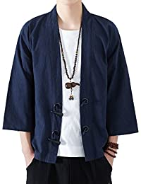 CONNECT-J メンズ 夏 秋 カーディガン 7分袖 和式パーカー 開襟シャツ 大きいサイズ カジュアル ゆったり 羽織 おしゃれ 無地