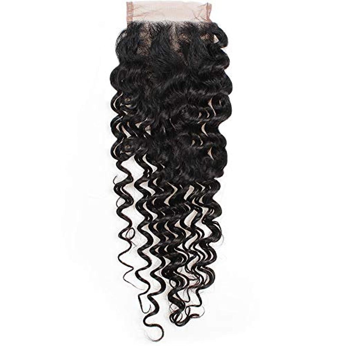 親複雑ボードHOHYLLYA 4×4ストレート3パートレース閉鎖7aブラジルディープウェーブ人間の髪の毛のトップ閉鎖ロールプレイングかつら女性のかつら (色 : 黒, サイズ : 14 inch)