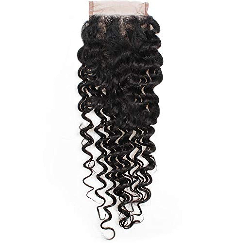 ゆでるダイバー保険HOHYLLYA 4×4ストレート3パートレース閉鎖7aブラジルディープウェーブ人間の髪の毛のトップ閉鎖ロールプレイングかつら女性のかつら (色 : 黒, サイズ : 14 inch)