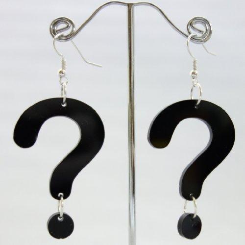 【N2 stone】 謎めき?はてな? アクリルピアス 2個セット 黒(ブラック) / フープピアス / レディース