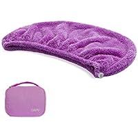 タオルキャップ ヘアキャップ 吸水 ヘアドライタオル 速乾 マイクロファイバー ヘア 乾燥 タオル 帽子 キャップ DAPU 風呂 ふわふわ (パープル)