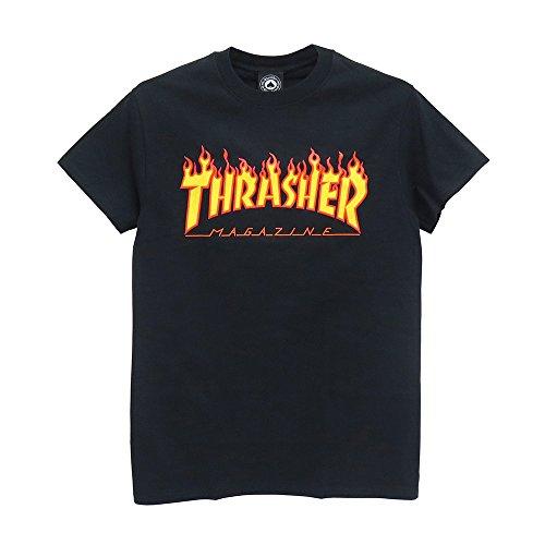 THRASHER T-SHIRT(スラッシャー) Tシャツ FLAME 黒,L
