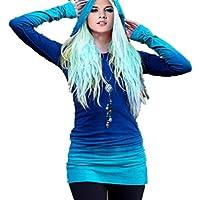 ポータブルで実用的 女性のためのフード付きジャケットパッチワークプルオーバースリムなTシャツ (色 : 青, サイズ : M)
