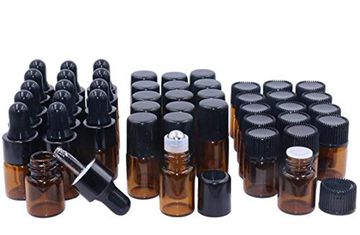 Wresty Essential Oil Bottles,2ml 45 Pack Glass Roller Bottles and Amber Dropper Bottles Essential Oil Sample Vails...