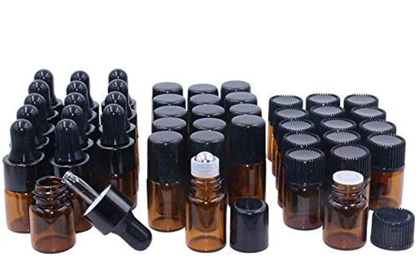 解釈的行動細いWresty Essential Oil Bottles,2ml 45 Pack Glass Roller Bottles and Amber Dropper Bottles Essential Oil Sample Vails...