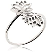 SOVATS Double Lotus Flower Ring for Women 925 Sterling Silver Oxizidize Surface - Simple, Stylish &Trendy Nickel Free Ring