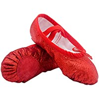HEALLILY Girl Ballet Shoes Sole Ballet Slipper Yoga Split Flats Belly Dance Shoes Shiny PU Gym Shoes Anti Slip Kids Adults (Red Size 22)