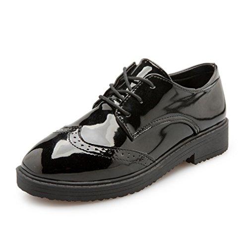 Youchan(ヨウチャン) 光沢 レトロ ステッチ フラット シューズ ラウンド ペタンコ カジュアル 靴 レディース (35(22.5cm),ブラック)