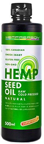 新鮮フレッシュ! 『 ナチュラル・ヘンプシードオイル 500ml 』 カナダ産100% 非加熱・無添加 麻の実油 Natural Hemp Seed Oil