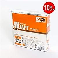 マジックテープ アラコー 面ファスナー AKテープ粘着付 25mm幅X5m (メス10個セット, 黒)