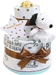スヌーピー(snoopy) 出産祝い 2段 今治タオル おむつケーキ 名入れ刺繍 ぬいぐるみ 女の子 男の子 男女兼用 imabari towel ピーナッツ PEANUTS
