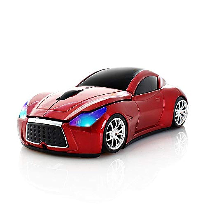 海洋の忠誠ロマンスワイヤレスマウス 車型 2.4GHz 無線 スポーツ 車 マウス1600DPI かっこいい 光学式 USBレシーバマウス小型 (レッド)