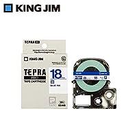 キングジム 「テプラ」PROテープカートリッジ 白ラベル 青文字 18mm SS18B