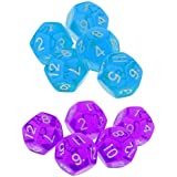 MagiDeal 10pcs/Set Multi Sided D12 Dices for TRPG Dungeons & Dragons Games Set Gift