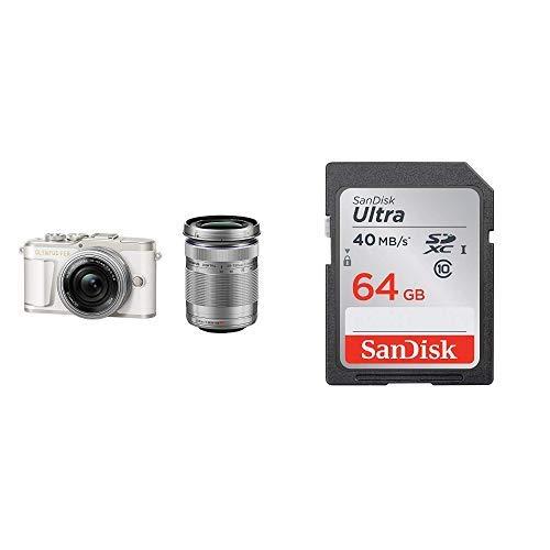 OLYMPUS ミラーレス一眼 PEN E-PL9 ダブルズームキット ホワイト + SanDisk エコパッケージ サンディスク ウルトラ SDXCカード 64GB Class10 UHS-I 読取り最大40MB/秒 SDSDUNH-064G-GHENN 10年保証