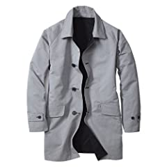 Reversible Trench Coat 019767: Black / Herringbone
