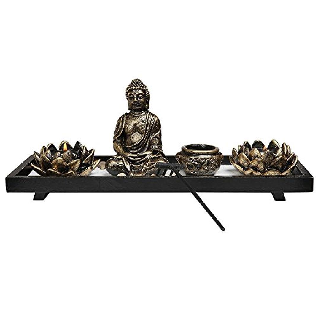 番目曲げるアコーRoyal Brands' Zen Garden with Buddha, Rake, Tea Light Candle and Incense holder - Peace and Tranquilly (37cm x...