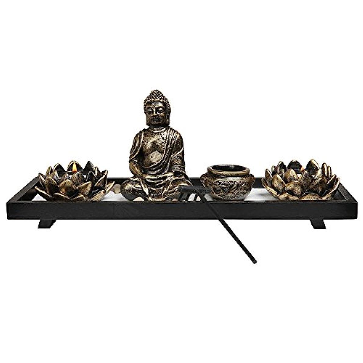 くちばし有限疲労Royal Brands' Zen Garden with Buddha, Rake, Tea Light Candle and Incense holder - Peace and Tranquilly (37cm x...
