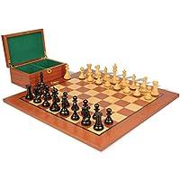 新しいExclusive Stauntonチェスセットin Ebonized Boxwood & Boxwood withマホガニーボード&ボックス – 3