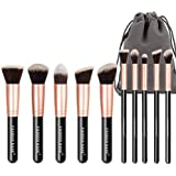 Makeup Brushes Set- Professional 10Pcs Premium Kabuki Essential Makeup Brushes with Case Prime Cosmetics Tools for Face Eye Cut Travel Makeup Bag Included (Rose Golden)