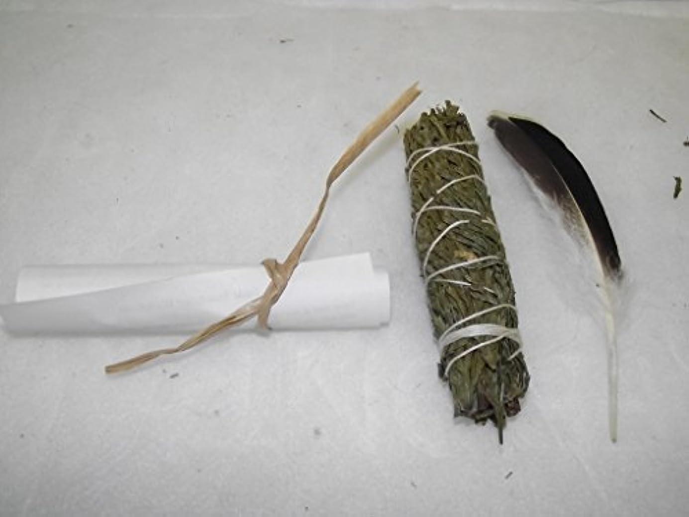 おばさん本気不足Smudge Stick Cedar with Feather