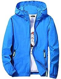 maweisong メンズスリムフィットソリッドカラーフード防水ウィンドブレーカージャケットコート