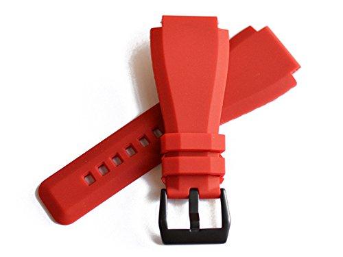 「ベル&ロス(Bell&Ross)向け」輸入王オリジナル BR01,BR03用 ラバーベルト 社外品 レッド 24mm