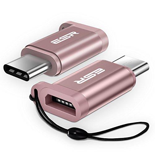 USB Type C 変換 【2枚セット】ESR USB-C & Micro USB (Micro USB → USB-C 変換 アダプタ) 【紛失防止収納ストラップ付】 Nintendo Switch / MacBook Pro / Xperia XZ / Moto Z / HUAWEI P9 / Nexus 5X / ノートパソコン 他対応 (オシャレピンク)