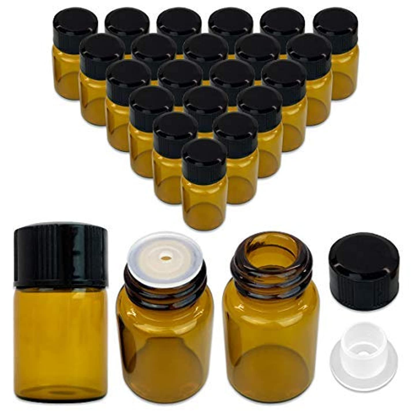 くしゃくしゃ保持するレディ24 Packs Beauticom 2ML Amber Glass Vial for Essential Oils, Aromatherapy, Fragrance, Serums, Spritzes, with Orifice...