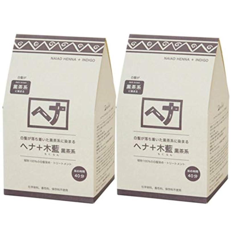 ナイアード ヘナ+木藍 黒茶系 400g◆2個+【ヘアキャップ&耳キャップ】セット