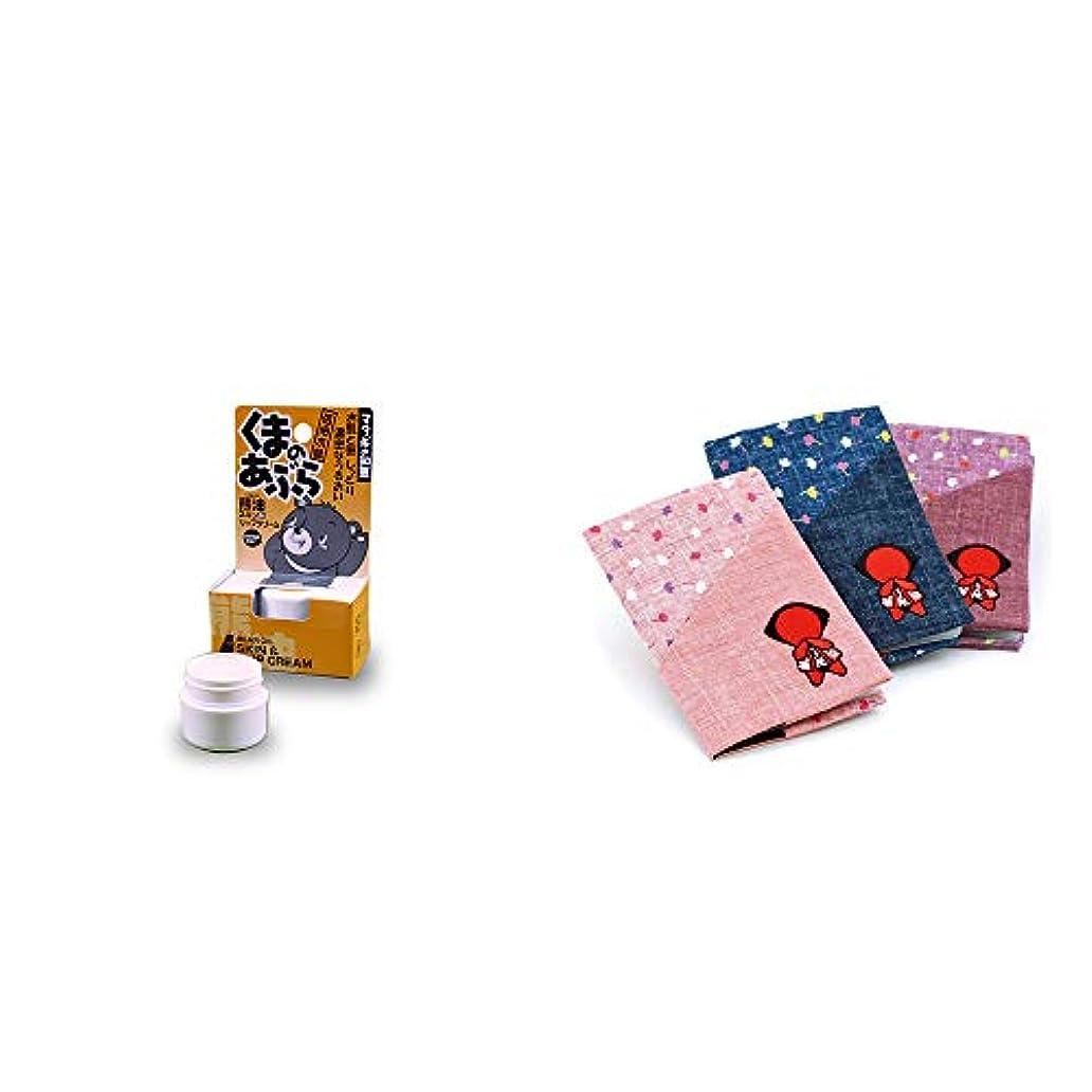 拘束略語食物[2点セット] 信州木曽 くまのあぶら 熊油スキン&リップクリーム(9g)?おねがいさるぼぼ カードケース【紺】