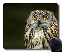 快適なマウスパッド、フクロウ目のタトゥーフクロウの鳥、縫い目のあるマウスパッド