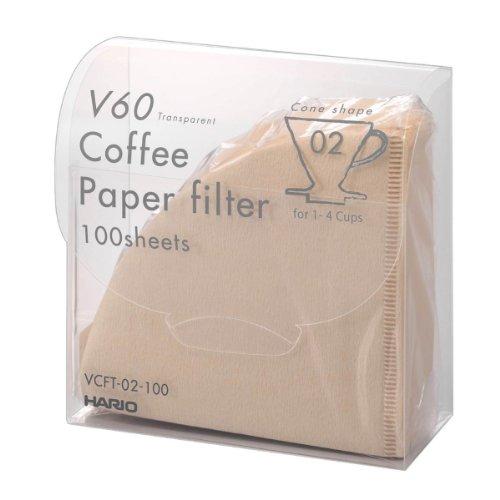 ハリオ V60 トランスペアレント ペーパーフィルターM ベージュ (VCFT-02-100M) 100枚入