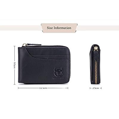 BULLCAPTAIN Leather Wallet Zipper Men Wallet, Mens RFID Antimagnetic Genuine Leather 11 Card Slots Wallet Coin Purse Wallet Credit Card Holder (Black)