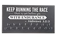 "Running on the wall-gifts for runners-marathon Medal display-medalラックfor running- Awardsハンガー – 壁マウントholder-"" Keep Running The Race。。。Hebrews 12 : 1 """