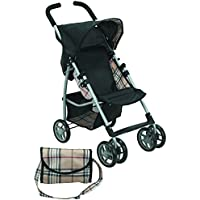 Mommy & Me Doll Stroller Swiveling Wheels with Free Carriage Bag 9351A Beige Plaid
