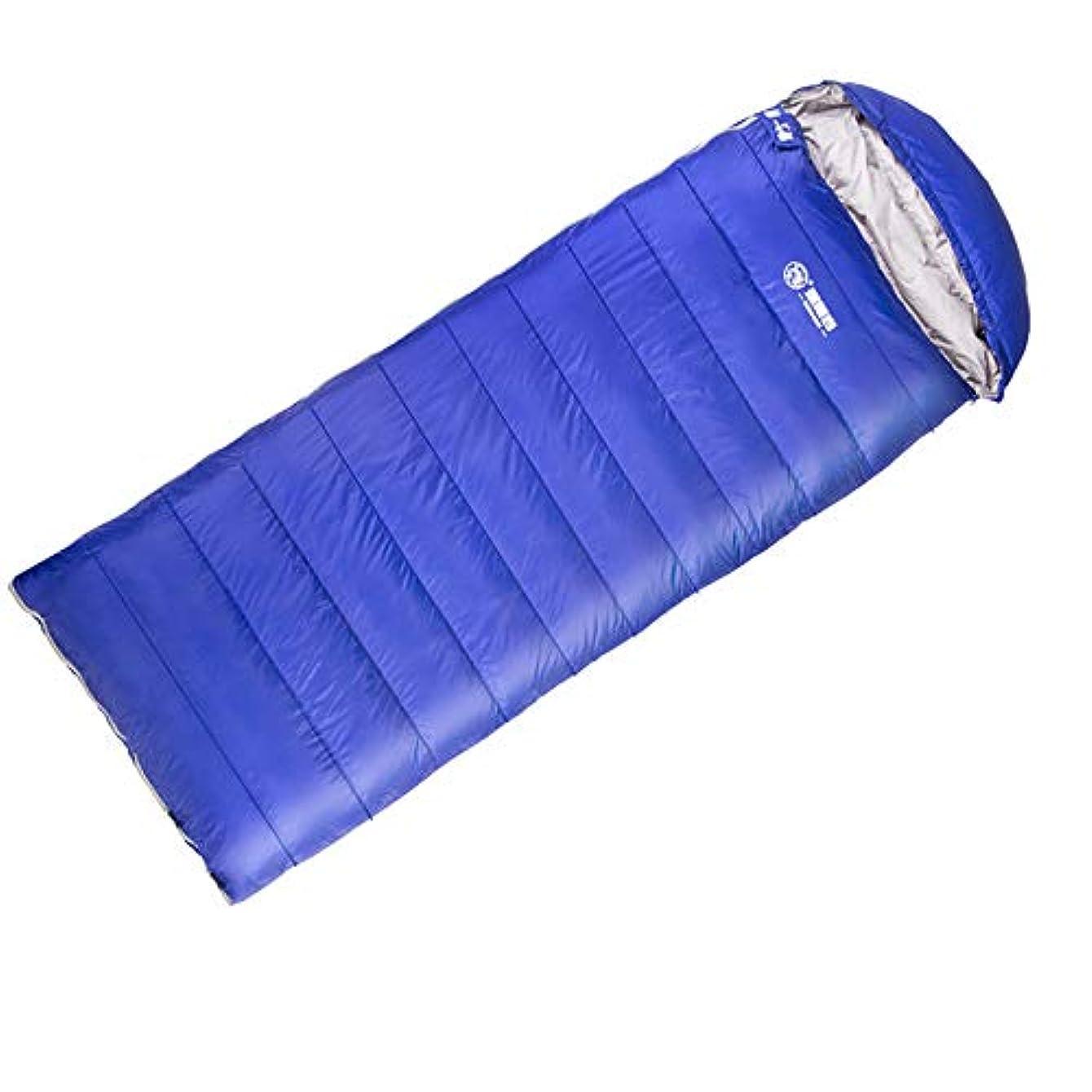 時計回りマンモス急降下寝袋内蔵ダックダウン、撥水、幅広く厚く、収納が簡単、持ち運びが簡単、自動運転ツアーに使用、キャンプ, Blue