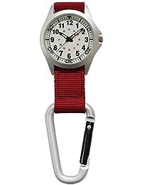 [クレファー]CREPHA フックウォッチ アナログ 3気圧防水 ホワイト レッド CB-A4153-LUR