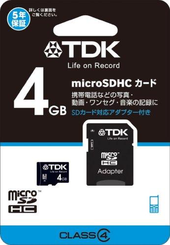 『TDK microSDHCカード 4GB Class4 SDアダプター付き 5年保証 Newニンテンドー3DS動作確認済み T-MCSDHC4GB4』のトップ画像